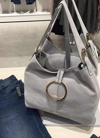 Silver grey suede shoulder bag under £100