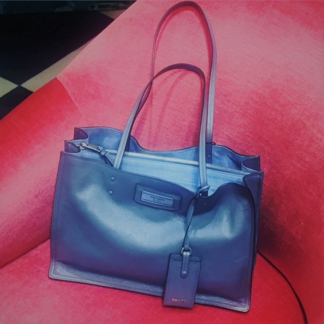 Prada soft blue shoulder bag