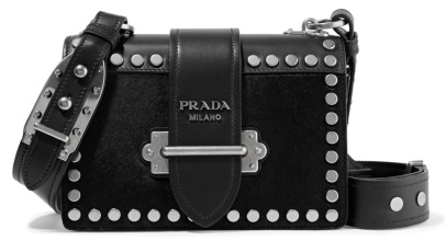 Prada leather studded shoulder bag