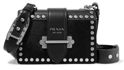 Prada leather studded shoulder bag