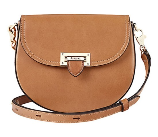 Aspinal of London tan leather saddle bag