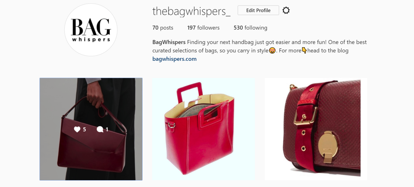 Bagwhispers on instagram
