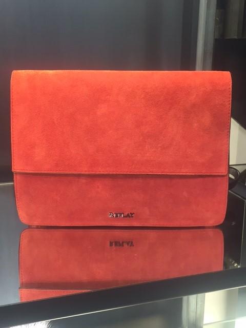 Replay suede shoulder bag in burnt orange colour