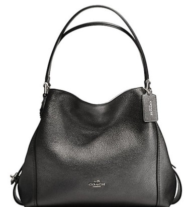 Coach leather shoulder bag in metallic graphite