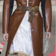 Coloured leather coat