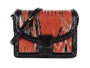 Dries Van Noten designer handbag of brocade and leather