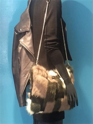 Furry shoulder bag with leather trip and chain strap from Diesel