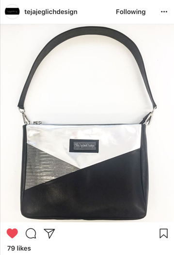 Black, silver and white shoulder bag