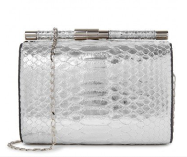 Tyler Ellis silver python clutch bag at Harvey Nichols