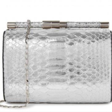 Tyler Ellis silver python clutch bag at Harvey Nichols