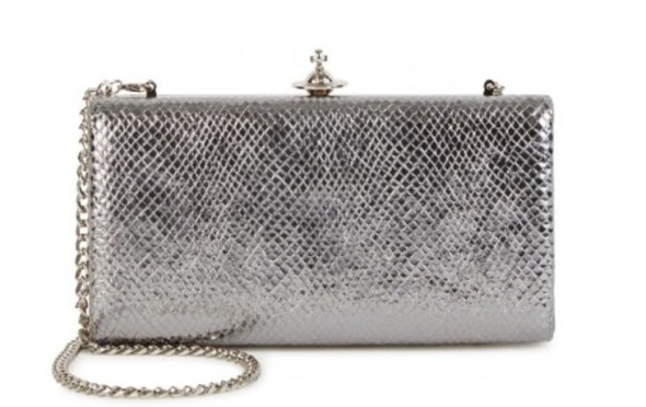 Vivienne Westwood leather silver clutch bag