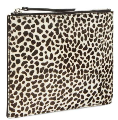 Leather animal print clutch bag from Jaega