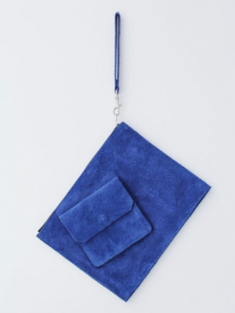 Jamie Wei Huang blue suede clutch bag