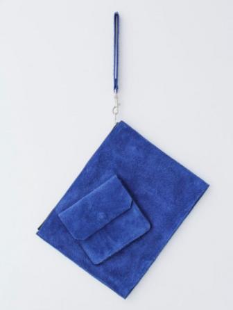 Jamie Wei Huang blue suede clutch bag