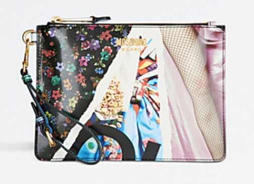 Archive-Print patent clutch bag from Moschino
