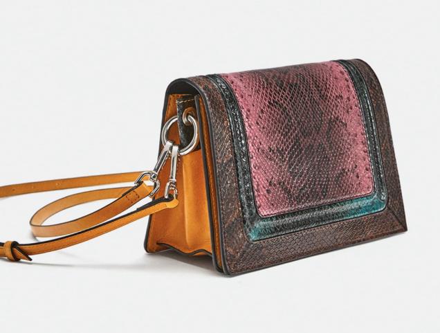 Zara Embossed Leather Animal Print Crossbody Bag