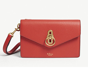 Mulberry Amberley Hibiscus red clutch bag