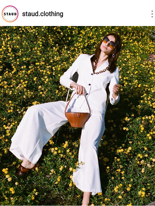 Neutral brown fashion bags for Spring and Summer 2019.  Check out the structured handbag, Alice, from Staud.