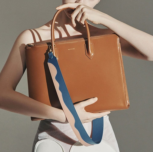 SS19 fashion bags in-store and online now including the Magzine tote bag from Mute Muse in brown truffle colour