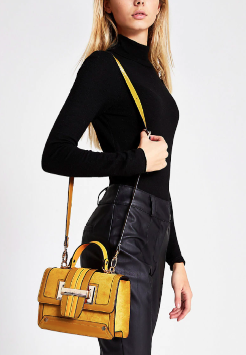 River Island Mustard Buckle Satchel bag £34